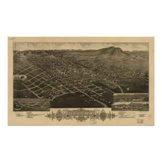Mapa panorámico antiguo de Helena Montana 1883 Impresiones