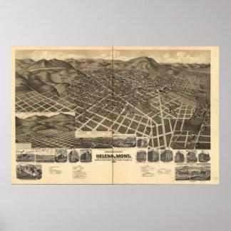 Mapa panorámico antiguo de Helena Montana 1890 Impresiones