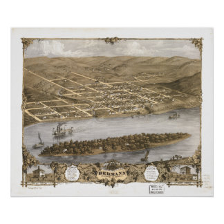 Mapa panorámico antiguo de Hermann Missouri 1869 Impresiones