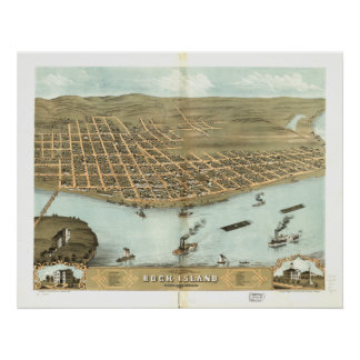 Mapa panorámico antiguo de Illinois 1869 de la isl Poster