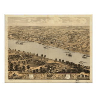 Mapa panorámico antiguo de jefferson city Missouri Poster