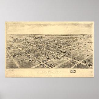Mapa panorámico antiguo de Jefferson Ohio 1901 Posters