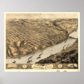 Mapa panorámico antiguo de Kansas City Missouri 18 Impresiones