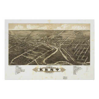 Mapa panorámico antiguo de Kent Ohio 1882 Posters