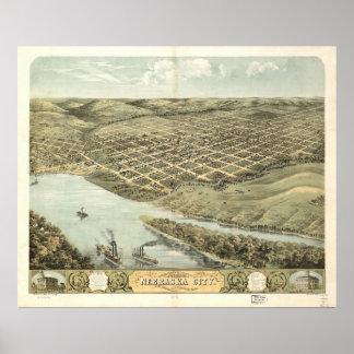 Mapa panorámico antiguo de la ciudad 1868 de Nebra Poster