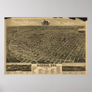 Mapa panorámico antiguo de Lincoln Nebraska 1889 Posters