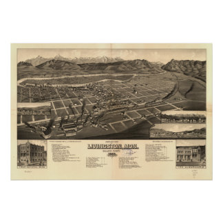 Mapa panorámico antiguo de Livingston Montana 1883 Poster