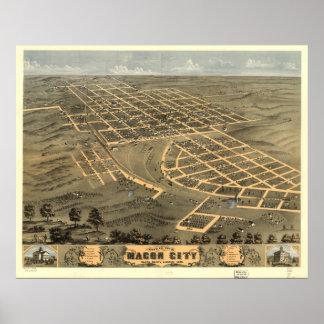 Mapa panorámico antiguo de Macon Missouri 1869 Póster