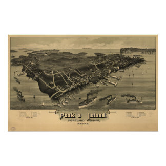 Mapa panorámico antiguo de Maine 1886 de la isla d Posters