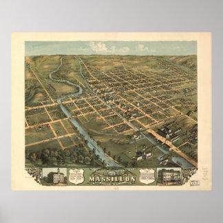 Mapa panorámico antiguo de Massillon Ohio 1870 Poster