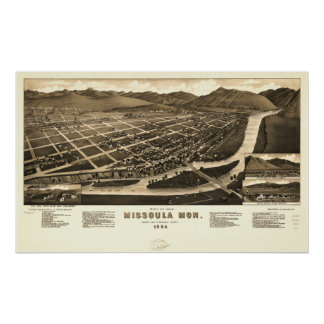 Mapa panorámico antiguo de Missoula Montana 1884 Posters