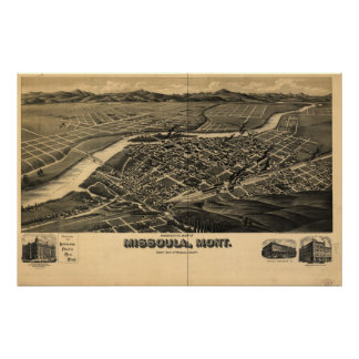 Mapa panorámico antiguo de Missoula Montana 1891 Posters