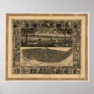 Mapa panorámico antiguo de Missouri 1848 del Saint Posters