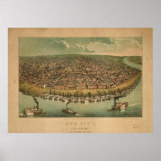 Mapa panorámico antiguo de Missouri 1859 del Saint Posters