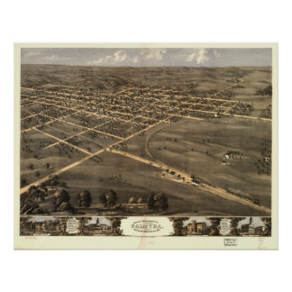Mapa panorámico antiguo de Missouri 1869 del Palmy Poster