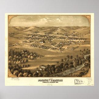 Mapa panorámico antiguo de Missouri 1869 pacíficos Poster