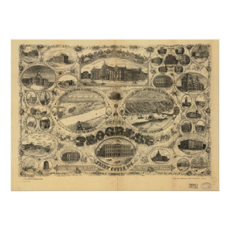 Mapa panorámico antiguo de Missouri 1884 del Saint Poster