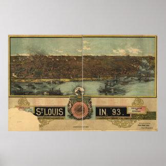 Mapa panorámico antiguo de Missouri 1893 del Saint Posters