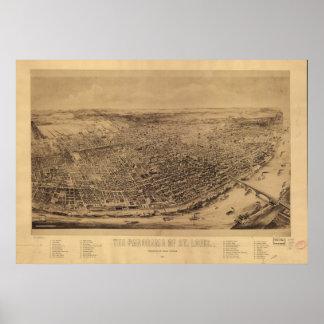 Mapa panorámico antiguo de Missouri 1894 del Saint Poster