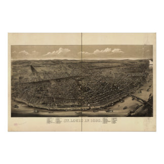 Mapa panorámico antiguo de Missouri 1895 del Saint Posters