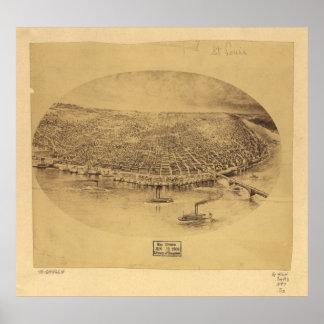 Mapa panorámico antiguo de Missouri 1897 del Saint Posters