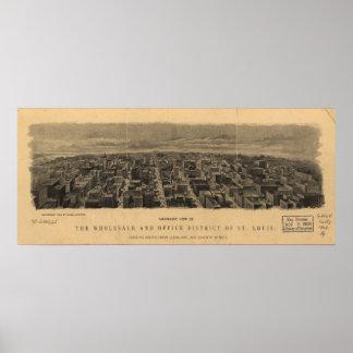 Mapa panorámico antiguo de Missouri 1904 del Saint Posters