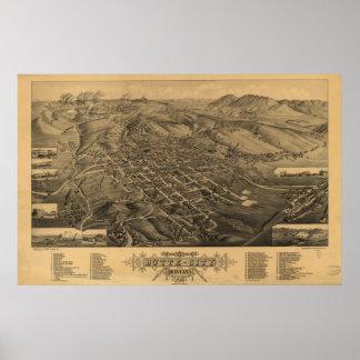 Mapa panorámico antiguo de Montana 1884 de la mota Impresiones