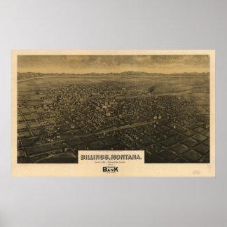 Mapa panorámico antiguo de Montana 1904 de las fac Posters
