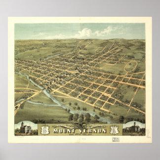 Mapa panorámico antiguo de Mount Vernon Ohio 1870 Posters