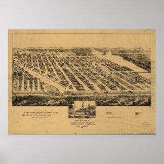Mapa panorámico antiguo de New Jersey 1881 del par Póster