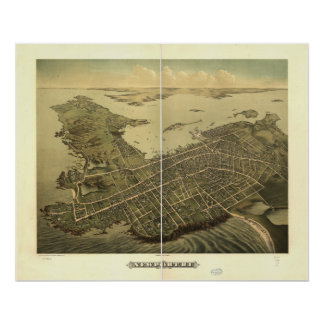 Mapa panorámico antiguo de Newport Rhode Island Póster