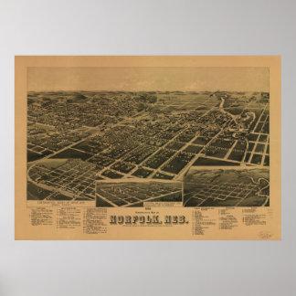 Mapa panorámico antiguo de Norfolk Nebraska 1889 Poster
