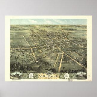 Mapa panorámico antiguo de Norwalk Ohio 1870 Impresiones