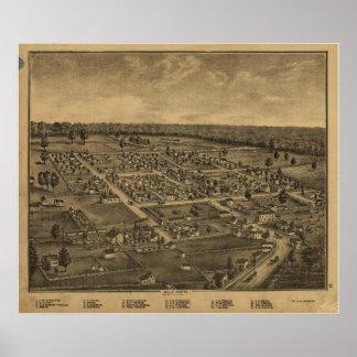 Mapa panorámico antiguo de Ohio 1875 de centro de  Posters