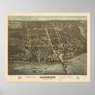 Mapa panorámico antiguo de Ohio 1884 de la orilla  Poster