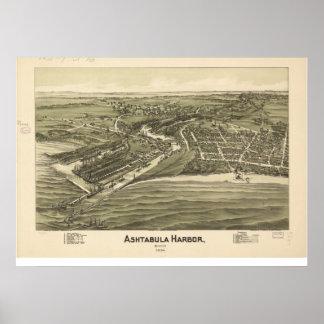 Mapa panorámico antiguo de Ohio 1896 del puerto de Poster