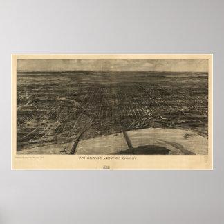 Mapa panorámico antiguo de Omaha Nebraska 1905 Poster
