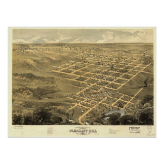 Mapa panorámico antiguo de Pleasant Hill Missouri  Posters