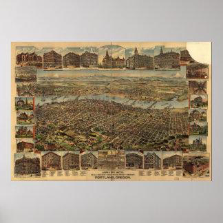 Mapa panorámico antiguo de Portland Oregon 1890 Impresiones