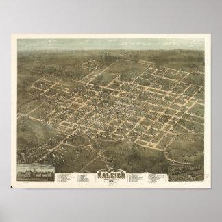Mapa panorámico antiguo de Raleigh N. Carolina Poster