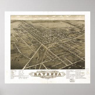 Mapa panorámico antiguo de Ravena Ohio 1882 Póster