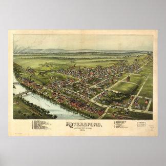 Mapa panorámico antiguo de Royersford Pennsylvania Póster