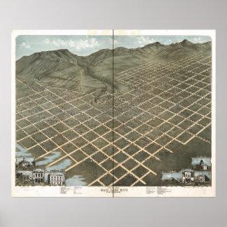 Mapa panorámico antiguo de Salt Lake City Utah Póster