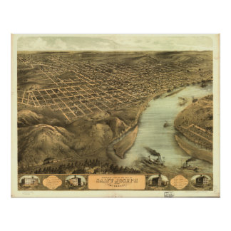 Mapa panorámico antiguo de San José Missouri 1868 Posters