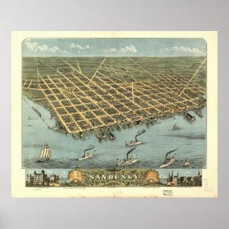 Mapa panorámico antiguo de Sandusky Ohio 1870 Posters