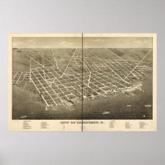 Mapa panorámico antiguo de Sandusky Ohio 1883 Poster