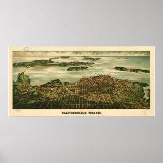 Mapa panorámico antiguo de Sandusky Ohio 1898 Poster