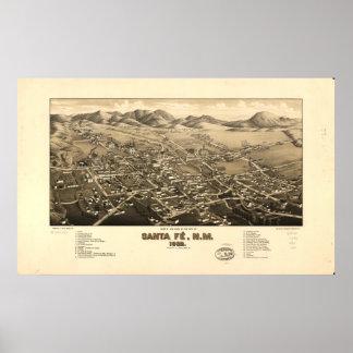 Mapa panorámico antiguo de Santa Fe New México 188 Impresiones