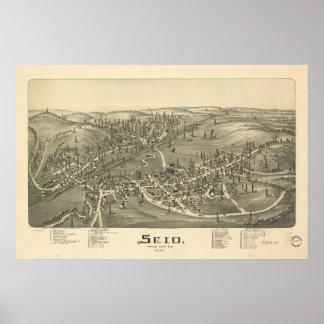 Mapa panorámico antiguo de Scio Ohio 1899 Impresiones