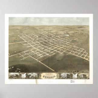 Mapa panorámico antiguo de Sedalia Missouri 1869 Impresiones